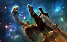 Deep space. Pillars of Creation and galaxies. Image in 5K resolution for desktop wallpaper. Elements of the image are furnished by NASA Stock Images