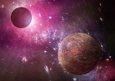 Deep space planets illustration. Extraterestial planets in the deep space with colorful stars background Royalty Free Stock Images