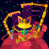 Deep space. Robots planet. Robocat. Royalty Free Stock Image