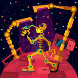 Deep space. Robots planet. Robot is drinking oil. Royalty Free Stock Photography