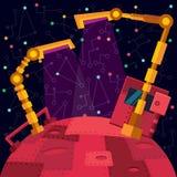 Deep space. Robots planet. Stock Photos