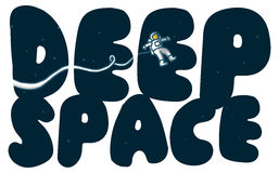 Deep space words with exploring astronaut Royalty Free Stock Photo