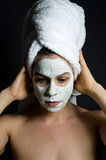 Deep Thought Mask. Image of a model in thought wearing a beauty mask Royalty Free Stock Photography