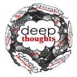 Deep Thoughts Profound Important Ideas Cloud Sphere. Deep Thoughts words in bubbles to illustrate profound and creative ideas to generate a solution to a problem Royalty Free Stock Image
