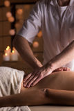 Deep tissue mobilization. Physical therapist doing deep tissue mobilization on woman Royalty Free Stock Photo