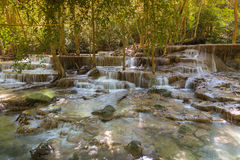 Deep tropical waterfalls in national park of Thailand Royalty Free Stock Images