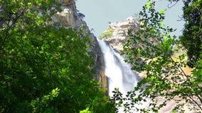 Deep Uchan-su falls on the mountain Ah-Petri in the Crimea. After a heavy rain stock video