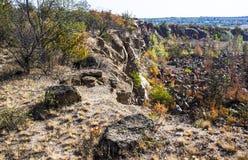 Deep unused stone quarry Stock Images
