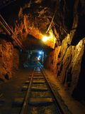 Deep in uranium mine. Deep in the old uranium mine, the city of Jachymov in the Czech Republic stock photo