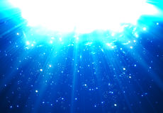 Deep Water Bubbles Dark Blue Color Illuminated By Rays Of Light. Vector Illustration stock illustration