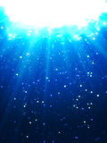 Deep Water Bubbles Dark Blue Color Illuminated By Rays Of Light. Vector Illustration royalty free illustration