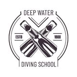 Deep water diving school isolated monochrome promo logo. Deep water diving school monochrome promo logo. Crossed flippers to dive commercial emblem. Extreme Stock Photo