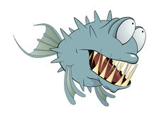 Deep-water fish. Balloonfish. Cartoon. Blue fish with the big teeth and eyes Stock Photos