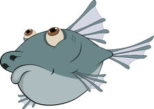 Deep-water fish. Cartoon. Predatory deep-water dark blue fish Stock Photography