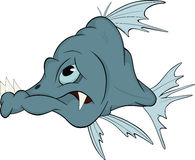 Deep-water fish. Cartoon. Predatory deep water blue fish Stock Image