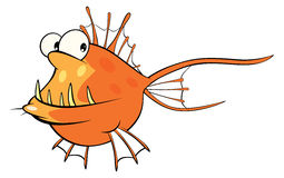 Deep-water fish. Monkfish. Cartoon Royalty Free Stock Photos