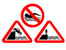 Deep water hazard signs Stock Image