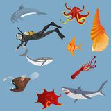 Deep water marine life vector set. Vector illustration. Diver, fishes, octopus, shark Stock Images