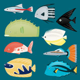 Deep water sea tropical aquatic marine fish set Royalty Free Stock Image