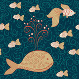 Deep water seamless pattern with big whale and little fishes. With ornament Stock Photography