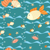 Deep water seamless pattern with a fishes Stock Photos