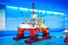 Deep water semi-submersible drilling platform Stock Image