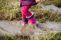 In deep water in walligton boots Royalty Free Stock Image