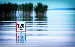 Deep water warning at Lake Balaton Royalty Free Stock Image
