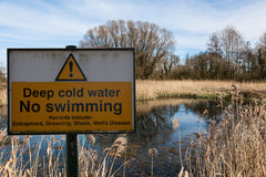 Deep water warning sign Royalty Free Stock Photo