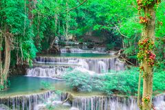Deep waterfall in Huay Mae Kamin Kanjanaburi Thailand royalty free stock photography