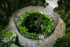 Deep well in Sintra. Top view of deep well in Sintra Stock Photo