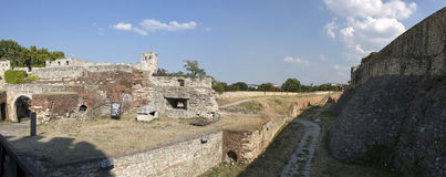 Deep and wide ditch in front of the Belgrade Fortress, Serbia Stock Photo