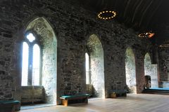 Deep windows of Kings Hall Bergen stock image