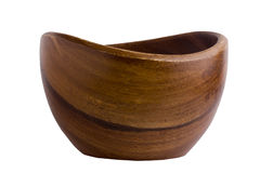 Deep wooden bowl Stock Photo