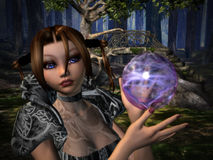 Deep in the Woods. Woodland Enchantress casting an electrifying spell Royalty Free Stock Photo