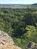 Deep woods cliff. Amazing view among the deep forest Royalty Free Stock Photography