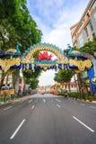 Deepavali装饰天视图在一点印度新加坡 免版税图库摄影