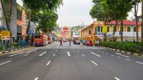 Deepavali装饰天视图在一点印度新加坡 免版税库存图片