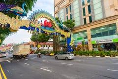 Deepavali装饰天视图在一点印度新加坡 库存图片