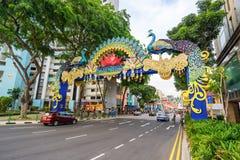 Deepavali装饰天视图在一点印度新加坡 免版税库存照片