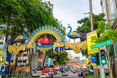 Deepavali装饰天视图在一点印度新加坡 库存照片