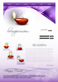 Deepawali diwali diya bright colorful wave websit. E template stock illustration
