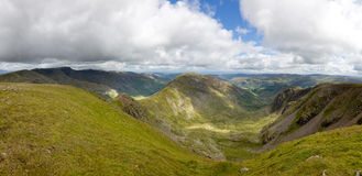 Deepdale, Fairfield Horseshoe. Panoramic view of the Deepdale, Fairfeild Horseshoe, from the summit of Fairfield Royalty Free Stock Images