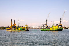 Deepening. Dredging the entrance to the Port of Gdansk Stock Photography