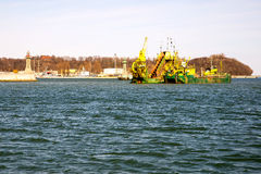 Deepening. Dredging the entrance to the Port of Gdynia Stock Images