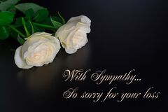 Free Deepest Condolence White Flowers On Black Background With Text Royalty Free Stock Photo - 172668315