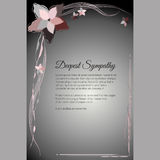 Deepest Sympathy vector funeral card with elegant abstract floral motif Royalty Free Stock Images