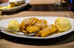Deepfried bananas with vanilla ice cream Royalty Free Stock Images