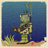 Deepsea diver. Deep-sea diver is on the bottom of the sea Stock Photos
