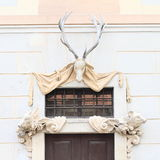 DeerÂs horn på kronhjortslott Cesky Krumlov Arkivbild